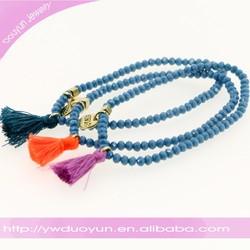 Trendy Cobalt Blue Mini Tassel Tribal Stretch Bracelet