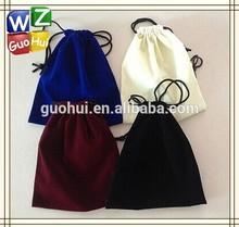 Single-side raised flannelette drawstring bag, soft fabric draw string bag
