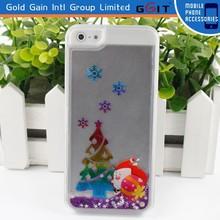 Popular Transparent Liquid Case Christmas Quicksand Case for iphone 5