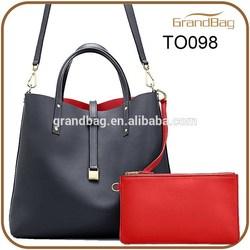 2015 women desinger reversible leather tote shoulder bag, leather fashion handbag with detachable zipper pouch