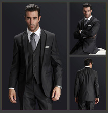 One Button Double Vents Charcoal Regular Fit Customized Made Men's Business Suits(Jacket+Pants+Vest+Tie)BS125 Slim Suit