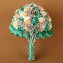 Hand Made Ivory Tiffany Blue Luxury Necklace Drop Rhinestone Brooches Bridal Flower Wedding Bouquet Decoration