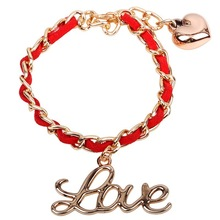 2015 Wholesale High Quality Valentines Days Gift Love Gold Chain Bracelet