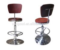 high quality adjustable round chromed base plywood seat bar high stool