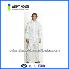 PP disposable coverall with elastic cuffs and front zip