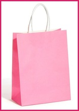 pink color twisted handle kraft paper recyclable pack bag