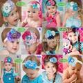 boutique atacado de flores de cetim pena hairband baby princess tiara cabelo acessórios