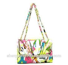2015 most popular floral pattern leather handbag with interior zipper pocket