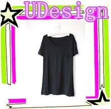 Modal with pocket shirts simple joker pure color t shirt comfotable loose shirts