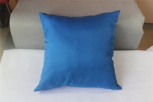 Good Quality Satin Fabric Pillow Solid Color Blue Cushion