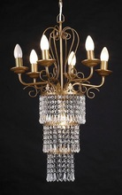 2014 popular design 6lamps gold acrylic indian chandelier light for lobby