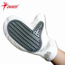Grey and white PU material Width 7.5cm pet Washing Bath Glove