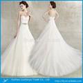 Andar- comprimento pequena cauda querido pescoço zíper fecho de cetim e organza novo modelo 2015 vestido de noiva
