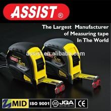 ASSIST brand nylon coated rubber jacket 2 stops yellow+black steel measure tape