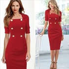 14763 Hot Sale 2014 Summer Fashion Western Style Short Sleeve Slim Fit Double-Breasted Pure Color Sexy Women Evening Dress