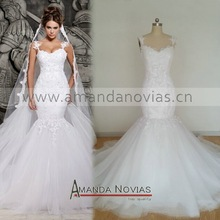 2015 Latest Designer Amanda Novias Popular Lace Mermaid Strap mermaid wedding dress
