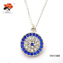 exotic lovely layered rhinestone evil eye pendant turkish necklace