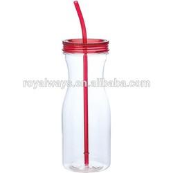 BPA free novelty shape 20oz plastic drinking bottle with straw