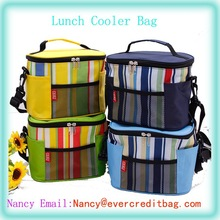 Fashion Stripe Oxford Thermal Cooler Bag With Shoulder Strap