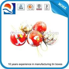 Iron Tinplate Lovely Christmass Ball Decorative Tin Box Poinsettia, Santa & Snowman