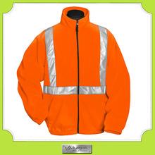 custom orange winter heavy high visibility reflective fleece jacket