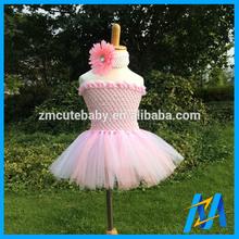 Wholesale Boutique Clothing Pink Tutu And Matching Headband Soft Tulle Flower Girl Dress Fashion Child Dress