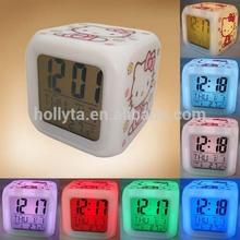 Hello Kitty LED 7 Color Electronic Color Change Digital Alarm Clock