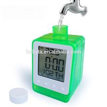 2015 new water table clock,water powered lcd clock,pen holder shape water alarm clock