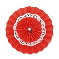 Red Lace Paper Doilies Paper Rosettes Backdrop Hanging Paper Fans Solid Color Party Round Pastel Hanging Decoration