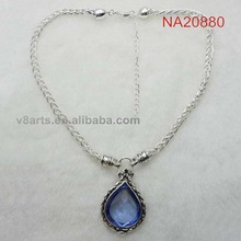 Alibaba fashion rhinestone sterling silver necklace with charm
