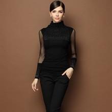 WA2002 rhinestone turtleneck high elasticity sexy sleeve women blouses