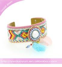 New Product Chevron Crochet Braided Jade Bangle
