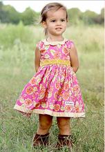 New fashion summer baby girls dress kids flowers cotton dress girls boutique cotton dress