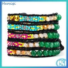 2014 85cm handmade style jade & small bead & wrapped crystal bracelet