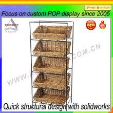 Bamboo fruit and vegetable display shelf