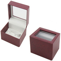 trendy PVC window single PU leather watch box