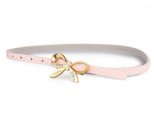 2015 Fashion style Rhinestone Bow leather belt