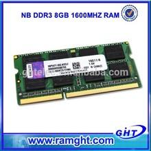 1 piece ETT chips 512mb*8/16c sodimm module ddr3 8gb laptop memory