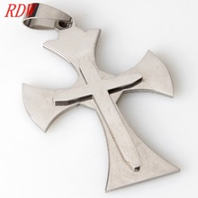 Charmed Energy And Clear Meaningful Gothic Stainless Steel Cross Pendant Design For Men