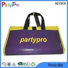 2015 Wholesale Waterproof Logo Printed Handbag Camping Pad Plastic Woven Folding Picnic Mat