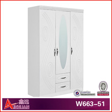 modern design white silk wood wardrobe with mirror