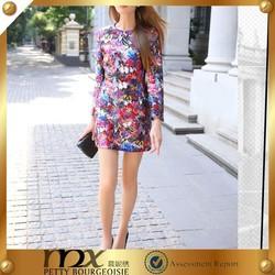 Desigual flower pattern bead embroidered fabric short satin dress