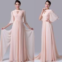 2015 Grace Karin China Supplier Chiffon Light Pink Women Evening Dresses With Long Sleeve CL6271