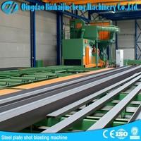 Electric conveyor roller steel plate sand blasting metal cleaning machine