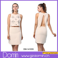 New Design Fashion Sleeveless Crop Top and Skirt