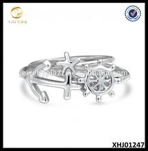 Nautical Starfish Anchor Ship Wheel Stackable Midi Ring 925 Silver