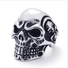 Yiwu Aceon 316L Stainless Steel Mens Skull Ring Flower Skull Head Biker Ring