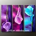 El yapımı modern popüler resim tuval, 3 adet paneli dekor çiçek yağlıboya