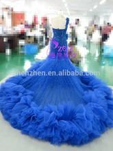 Elegant Royal Blue CL-W086 Lace Organza body One-shoulder Mermaid LongTrain Wedding Dress
