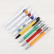 White solid big clip pen with matt colorful brand ballpoitn pen